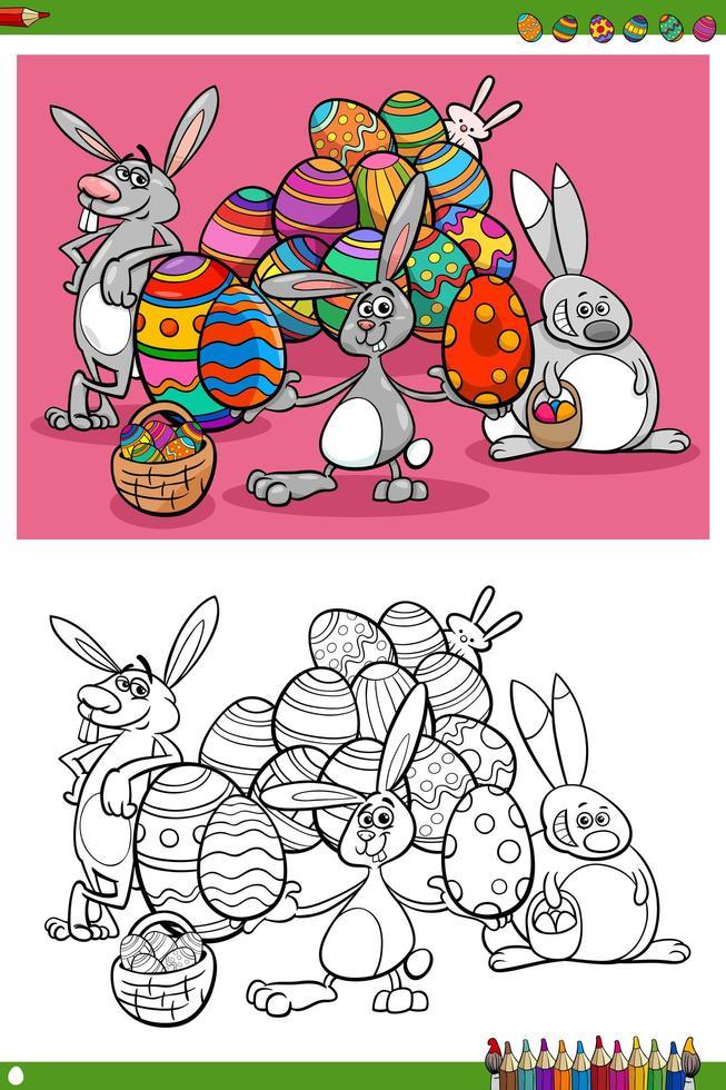 página do livro para colorir dos personagens do feriado dos coelhinhos da Páscoa vetor
