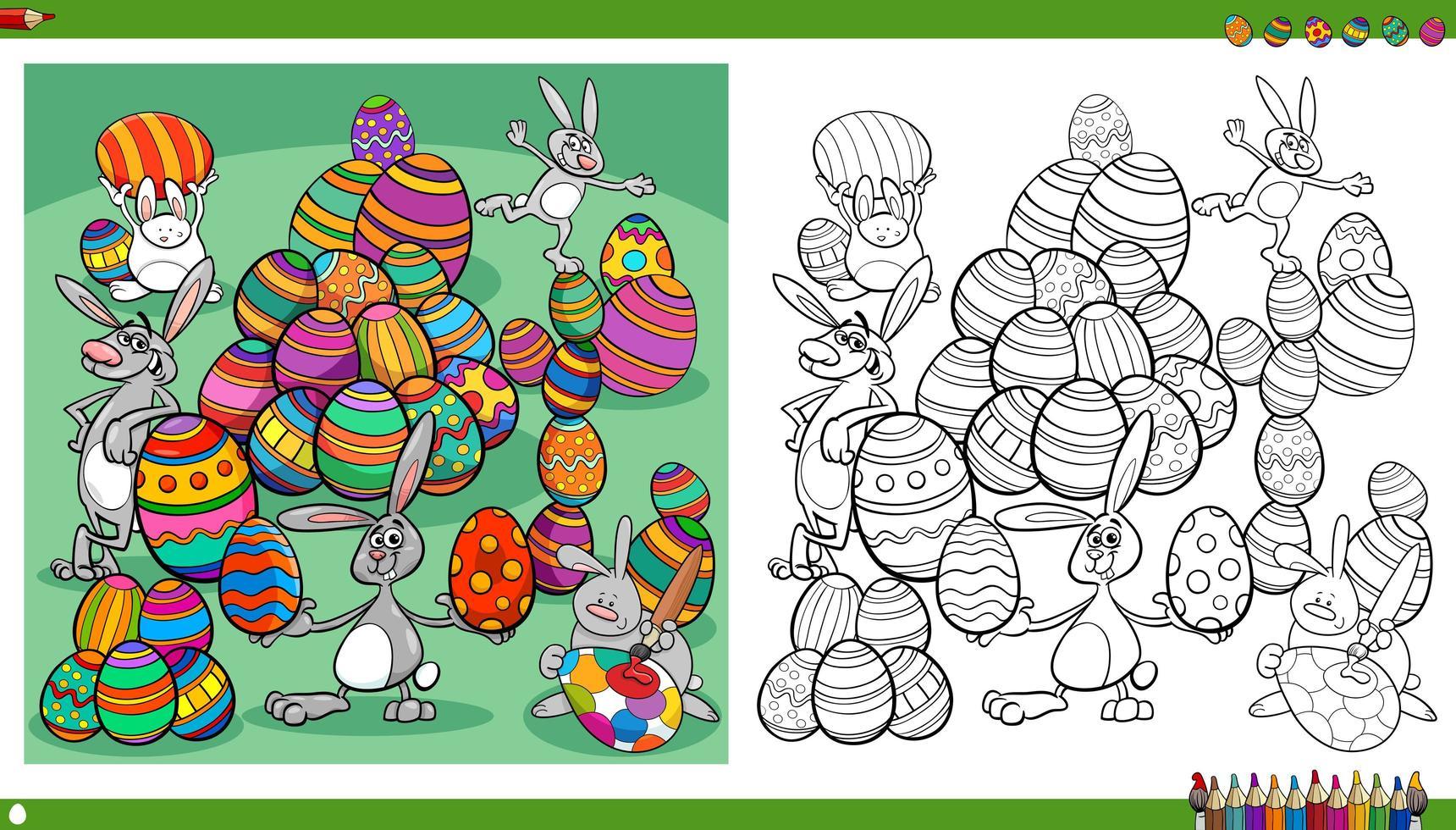 página do livro para colorir de coelhinhos da Páscoa com ovos coloridos vetor