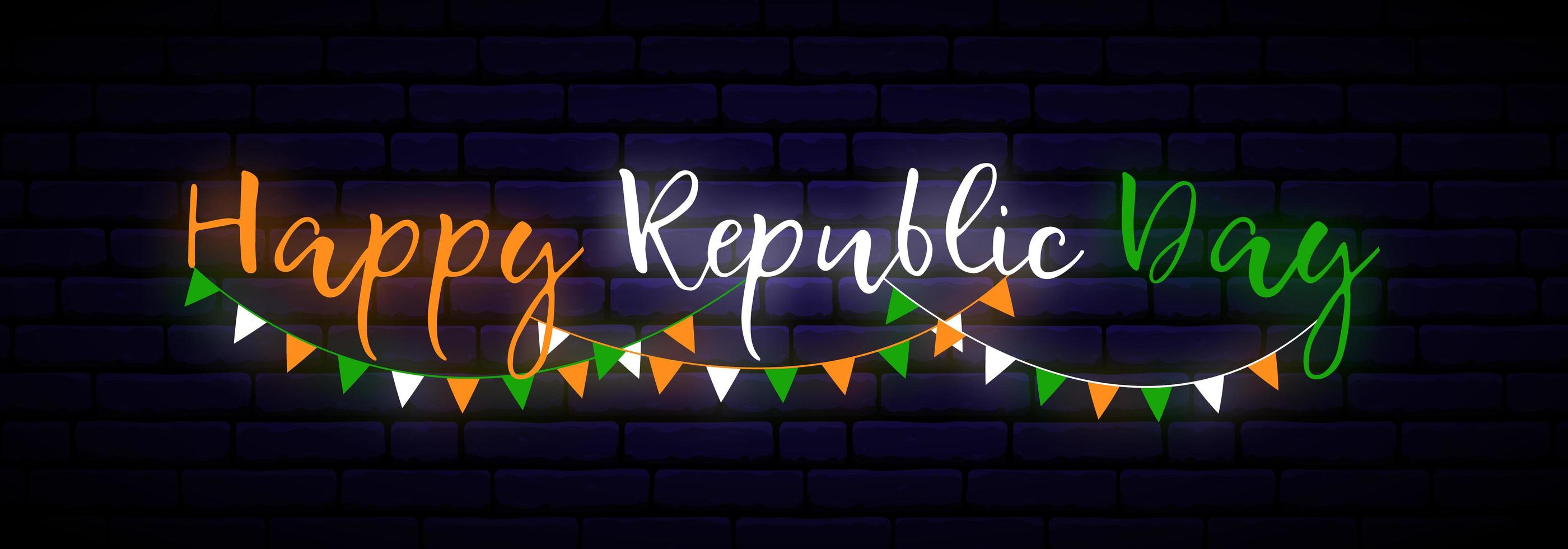 banner horizontal de néon do dia da República da Índia feliz. vetor