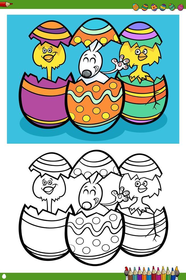 página do livro para colorir de personagens do feriado da páscoa vetor