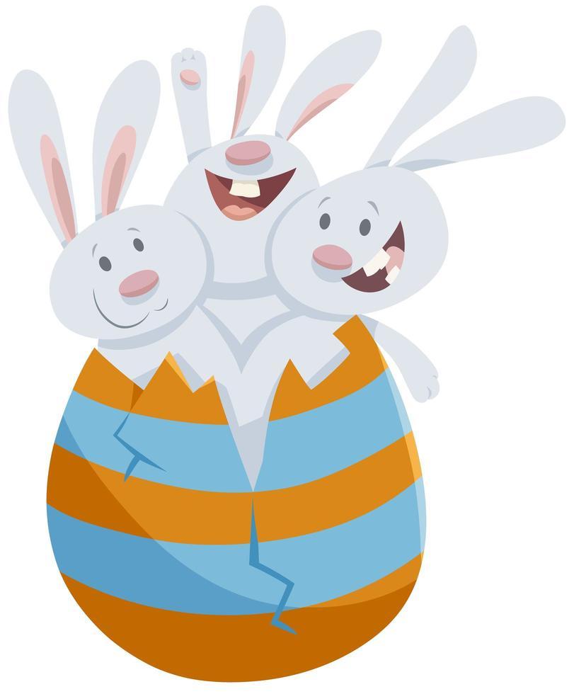 coelhinhos da Páscoa em grande desenho de ovo colorido vetor