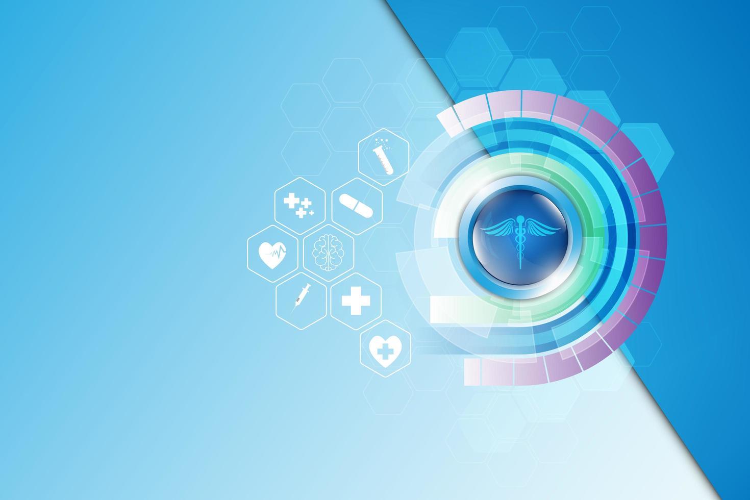 ícones da ciência médica no fundo abstrato da tecnologia vetor