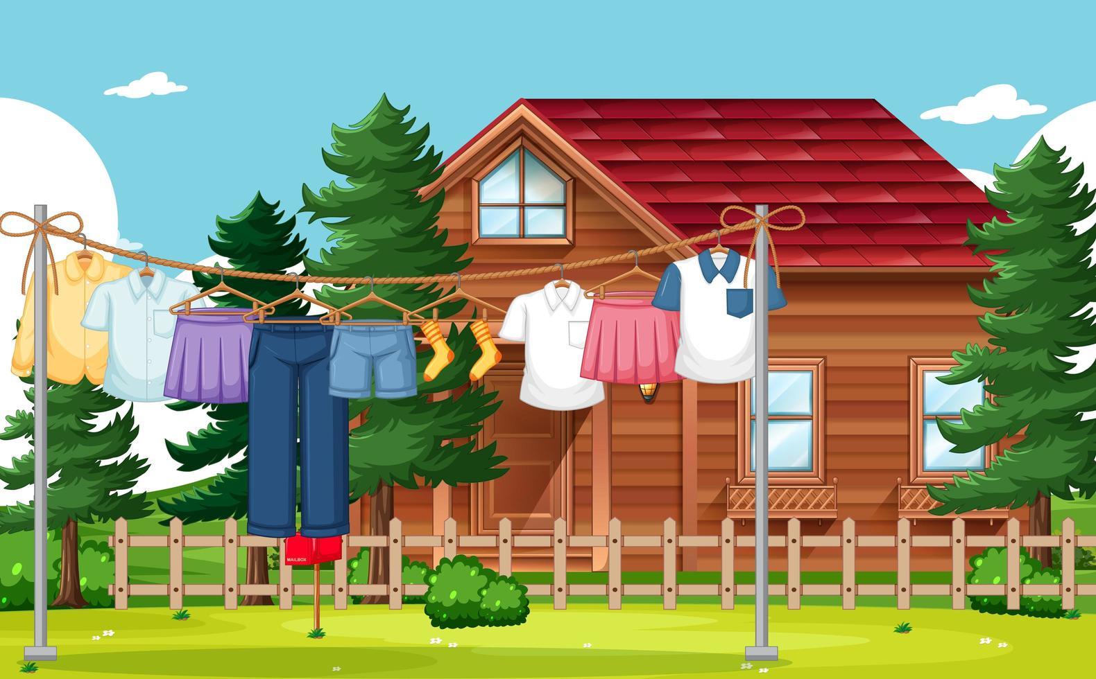 roupas secando e penduradas fundo ao ar livre vetor