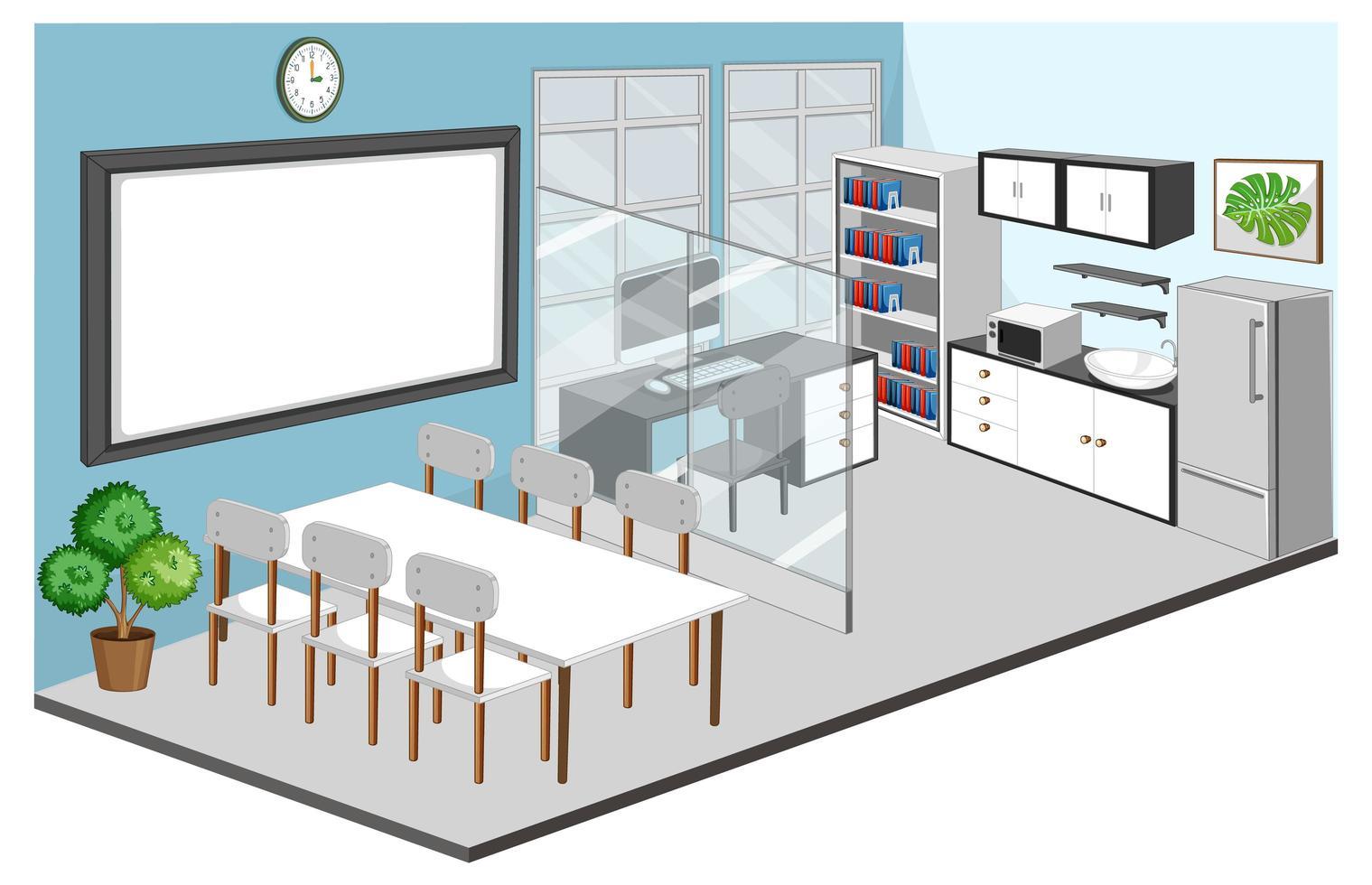 sala de escritório e interior de sala de reunião com móveis vetor