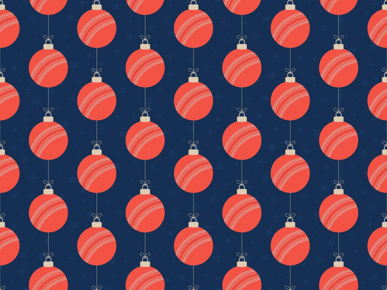 bola de críquete feliz natal padrão horizontal sem costura vetor