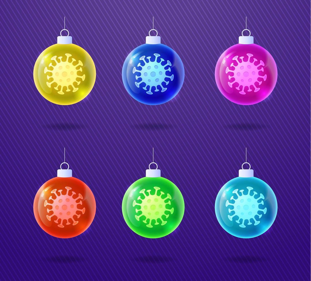 conjunto de ornamento de bola de coronavírus de natal brilhante de vidro vetor