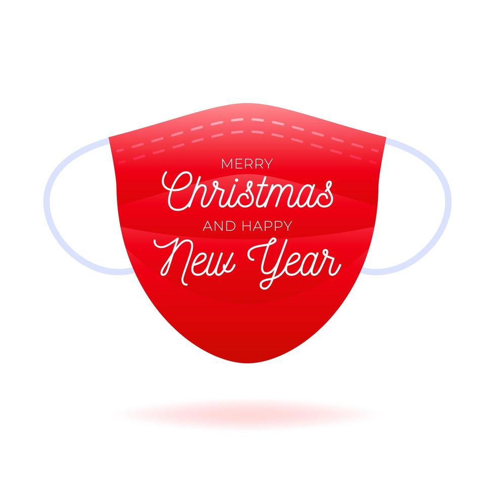 máscara com texto feliz natal e feliz ano novo vetor