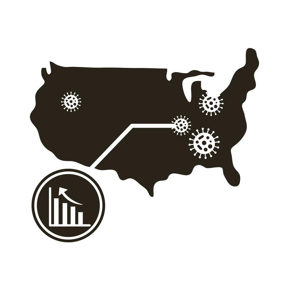 mapa dos EUA com ícone do infográfico de coronavírus vetor
