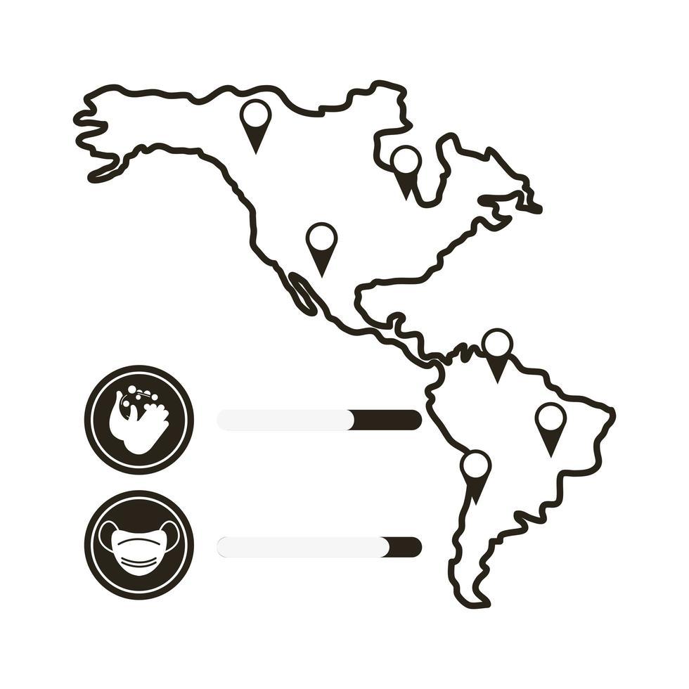 mapa com ícone de infográfico de coronavírus vetor
