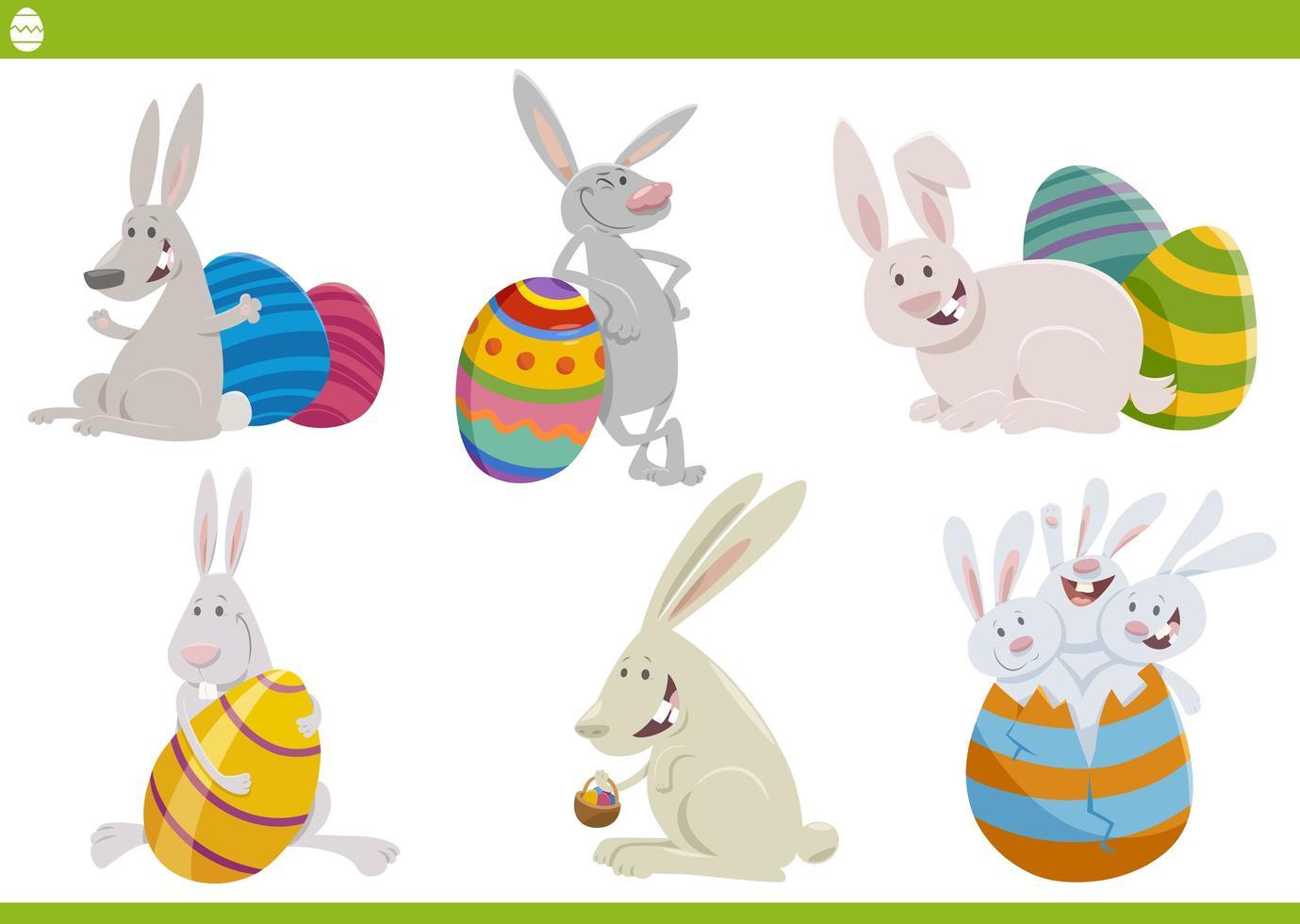 desenhos animados de personagens de coelhinhos da Páscoa vetor