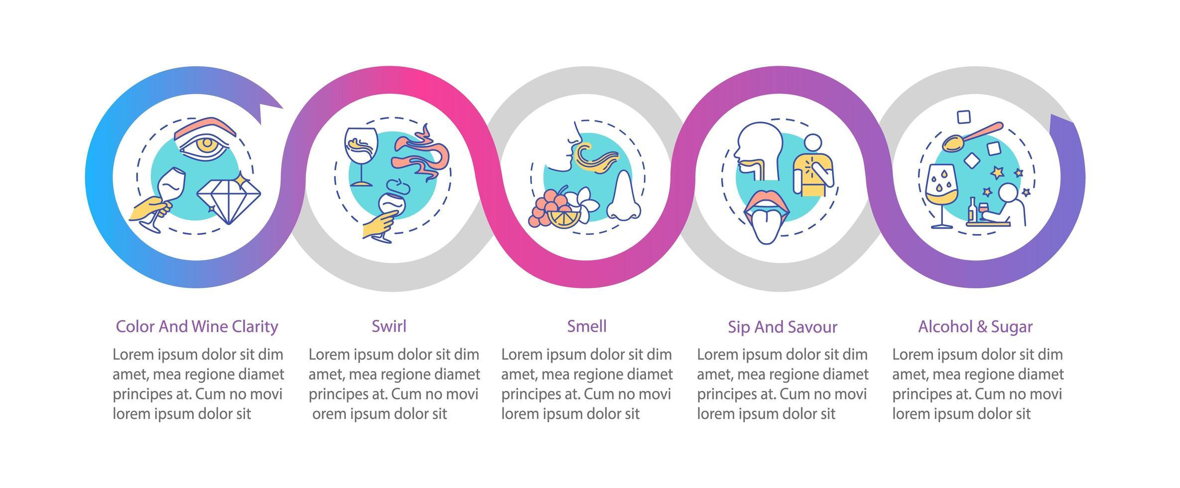 modelo de infográfico de degustação de vinhos. vetor
