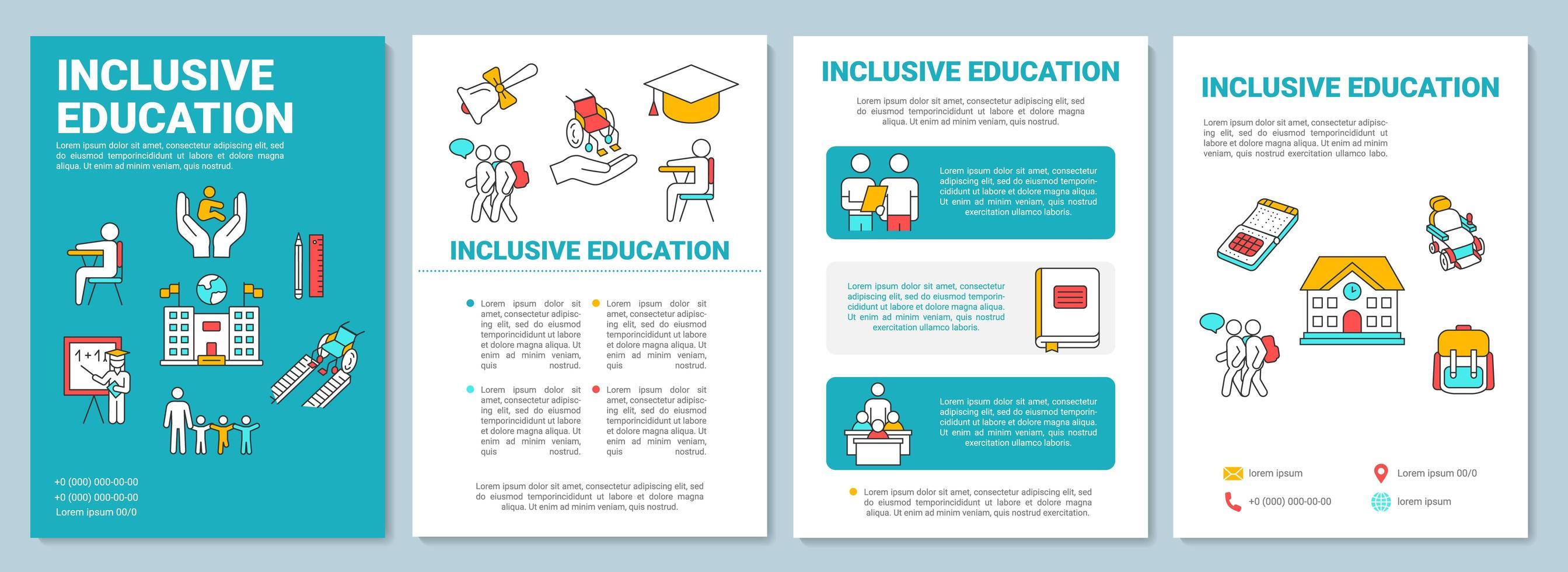 modelo de folheto de educação inclusiva. programa de aprendizagem para deficientes físicos. vetor