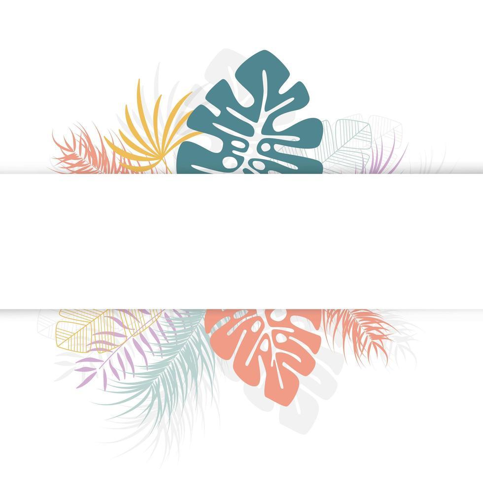 design tropical com folhas e plantas coloridas de palmeira vetor