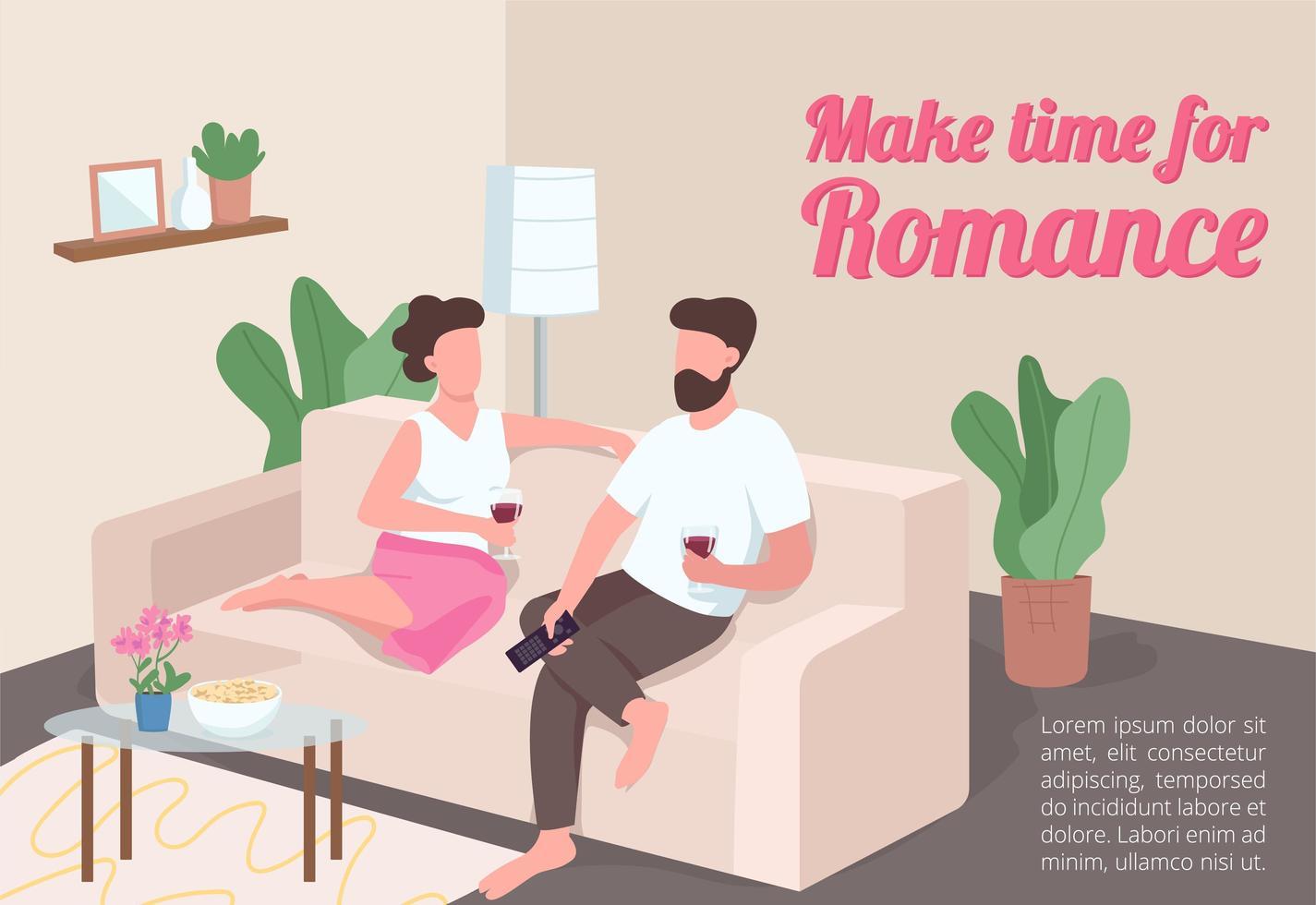 arrume tempo para o pôster de romance vetor