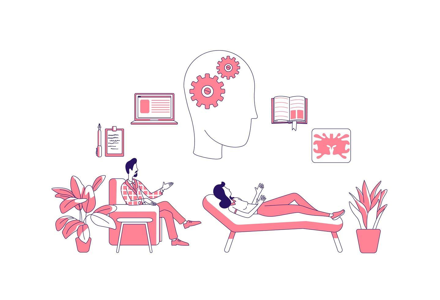 terapia psicológica com paciente vetor