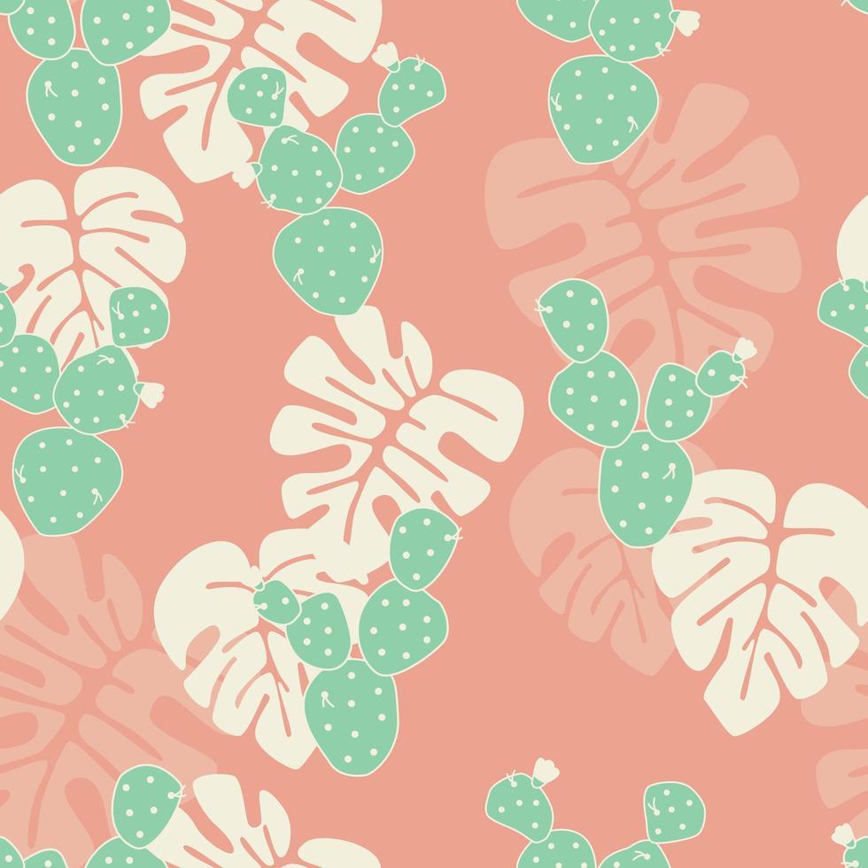 padrão tropical sem costura com folhas de palmeira monstera vetor