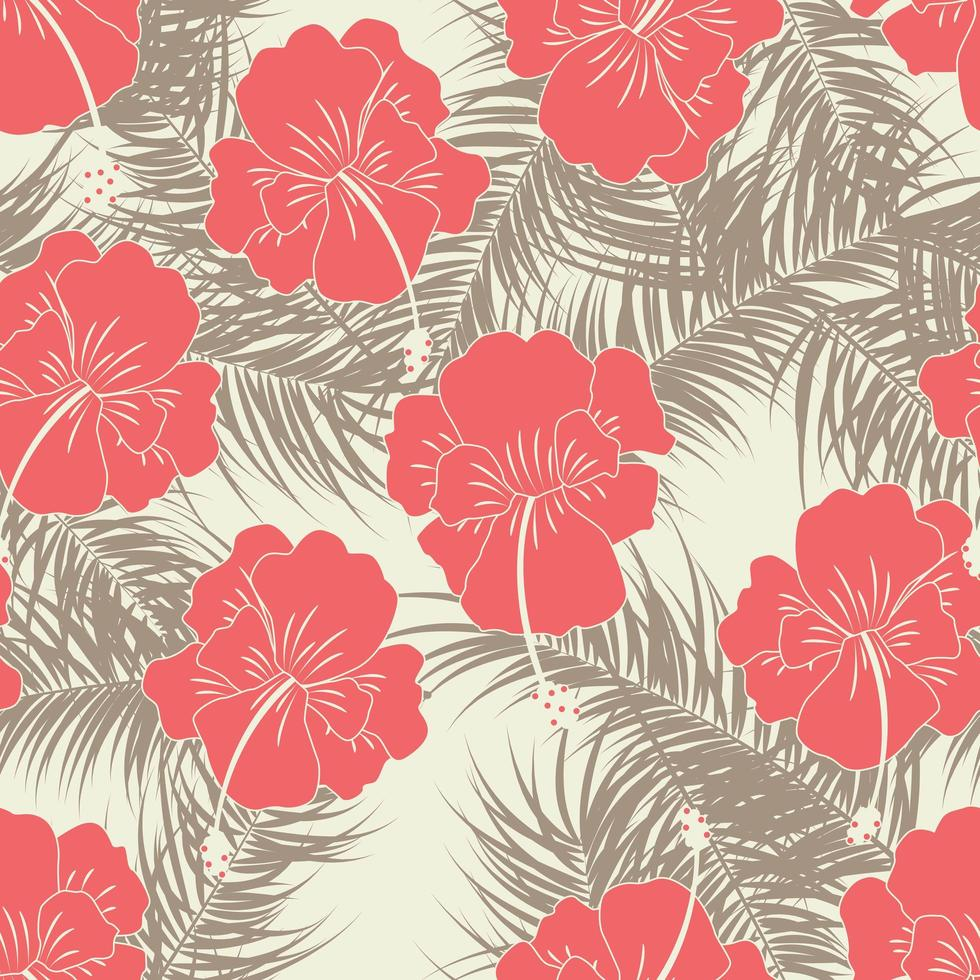 padrão tropical sem costura com folhas e flores marrons vetor