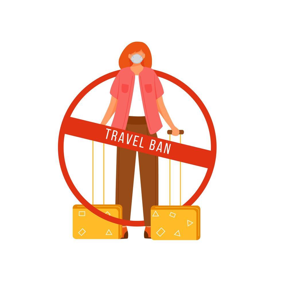 personagem de proibição de viagens vetor
