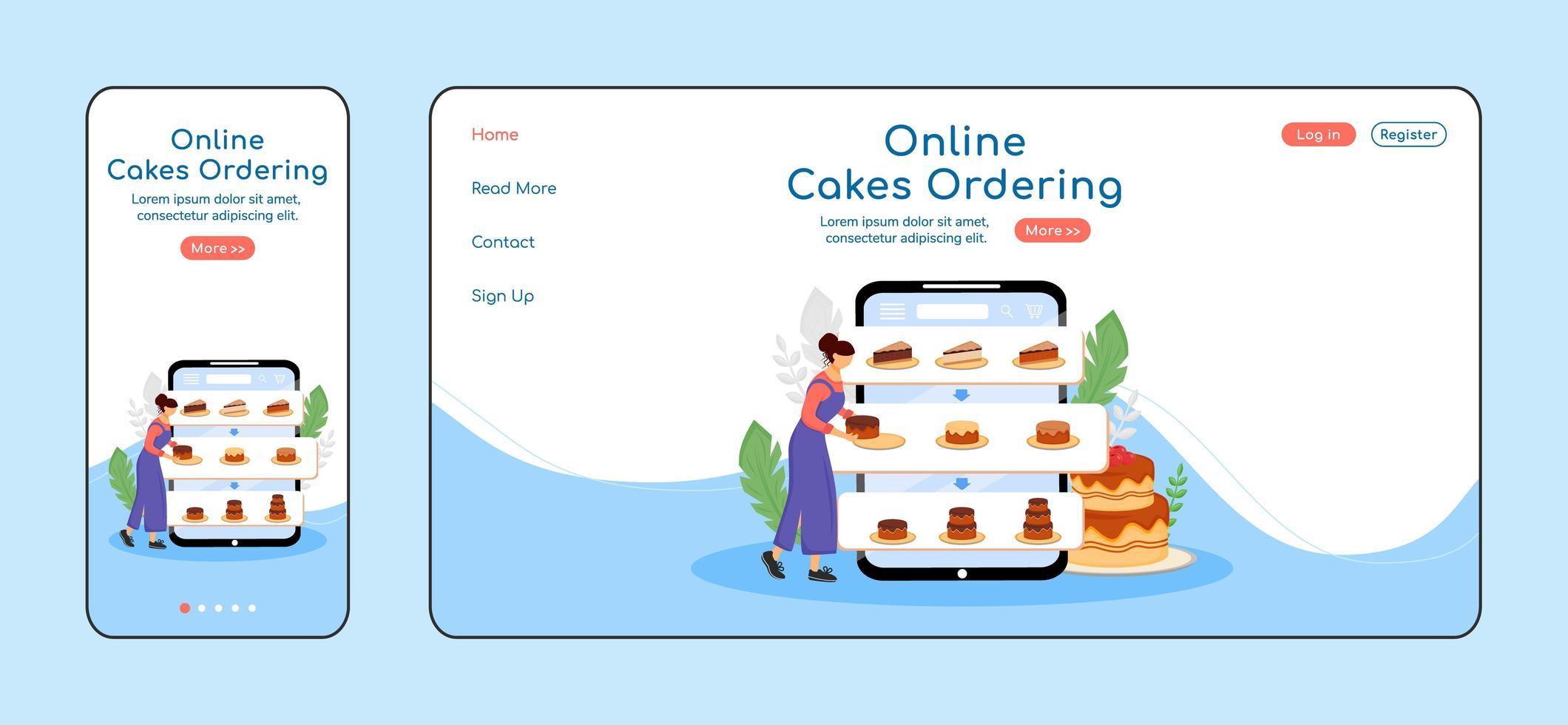 página de destino adaptativa de pedidos de bolos online vetor