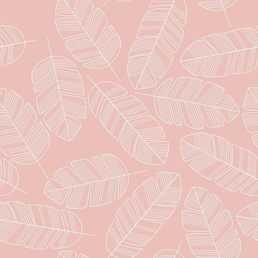 padrão sem emenda com folhas brancas em fundo rosa. vetor