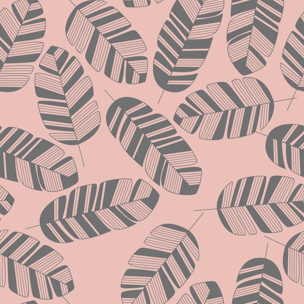padrão sem emenda com folhas cinza em fundo rosa vetor