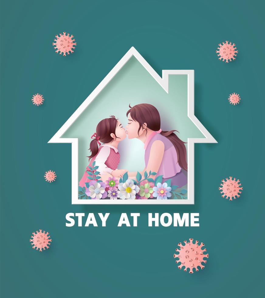 ficar em casa durante a epidemia de coronavírus. vetor