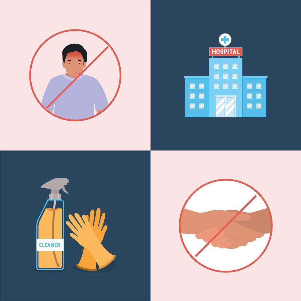 Projeto de tipos de prevenção de vírus ncov 2019 vetor