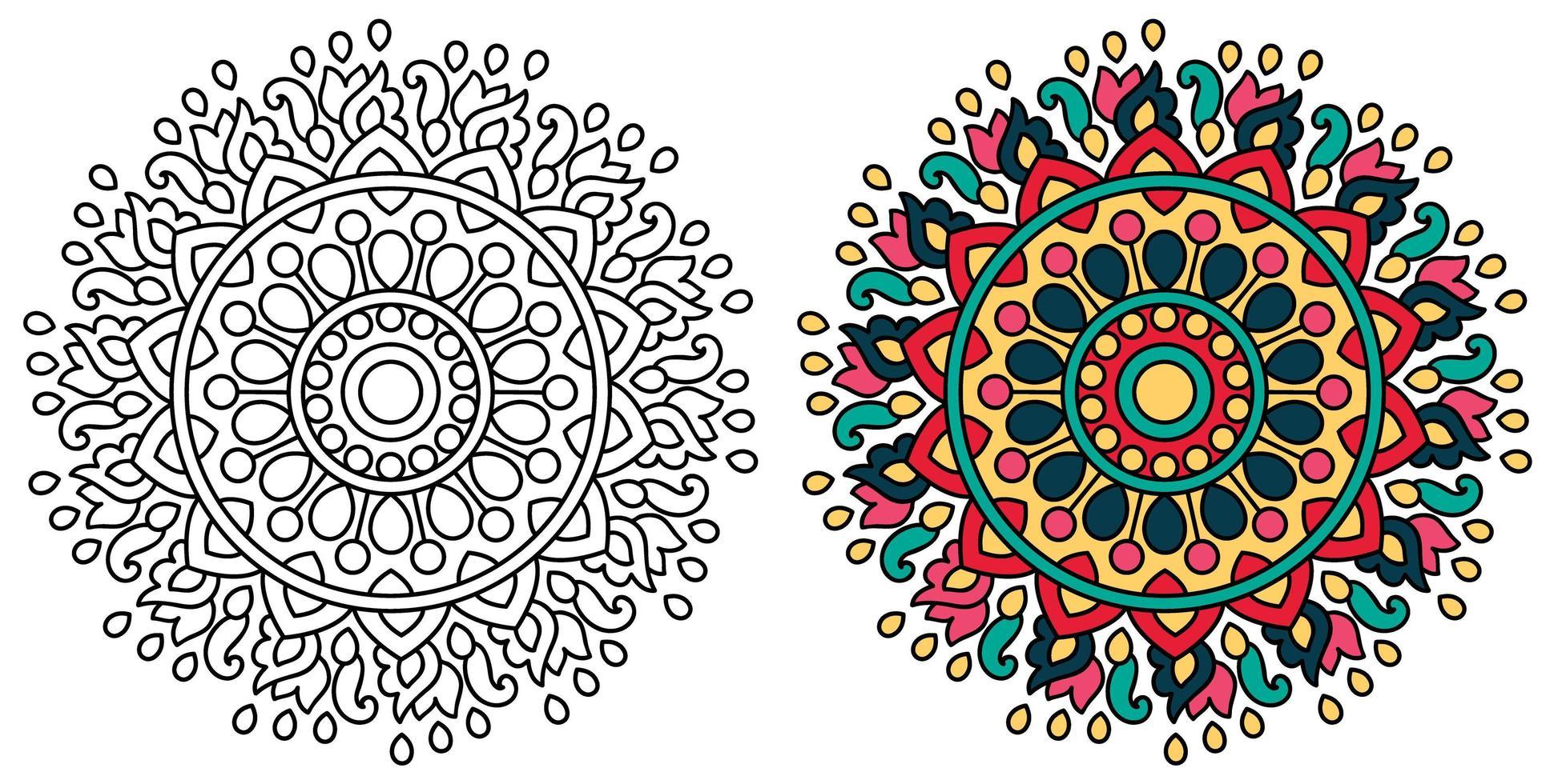 desenho de mandala para colorir decorativo arredondado decorativo livro de colorir vetor
