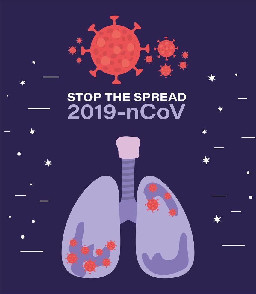 pulmões com design de vírus ncov 2019 vetor