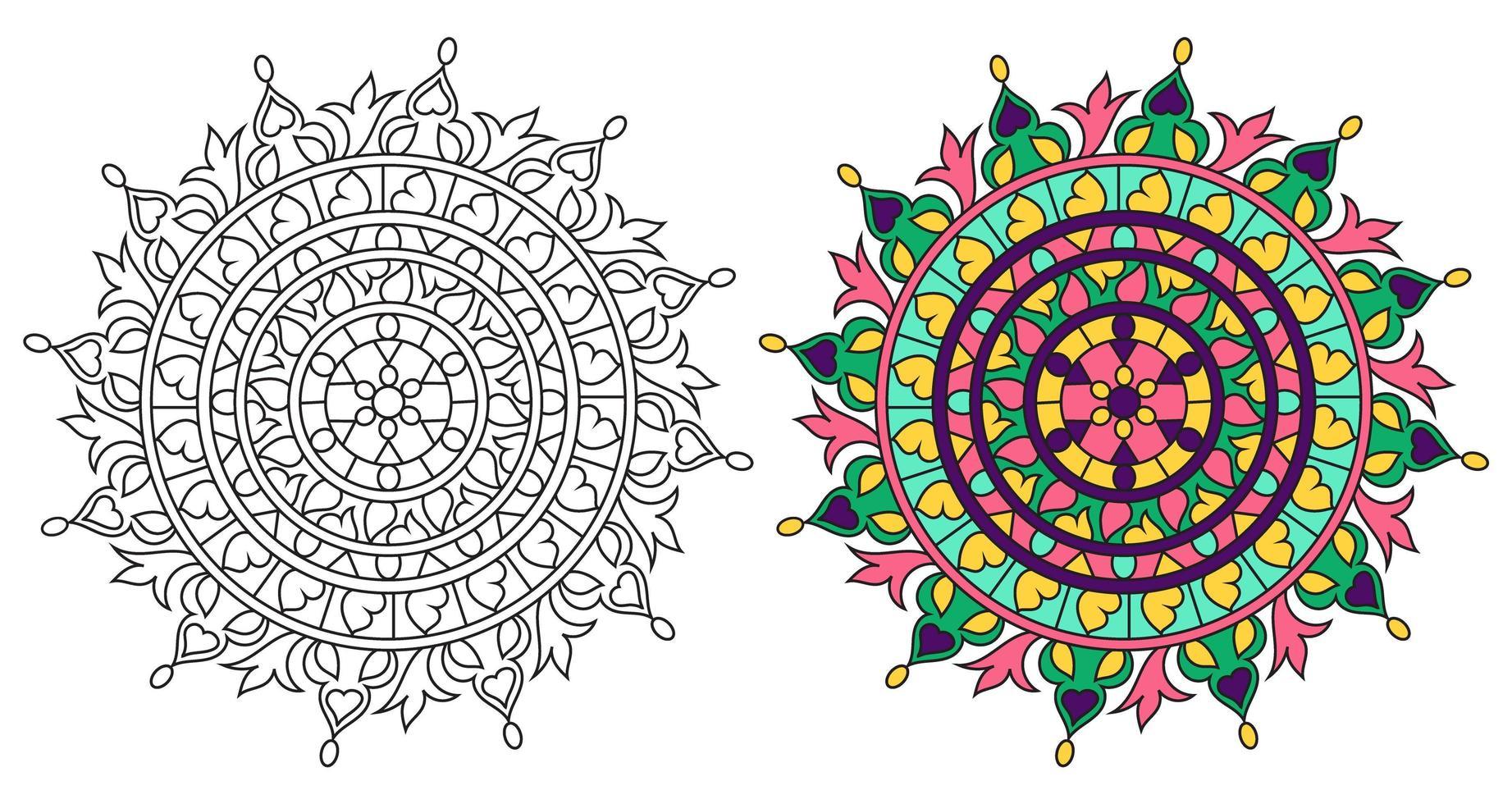 página do livro para colorir desenho de mandala para colorir decorativo arredondado vetor