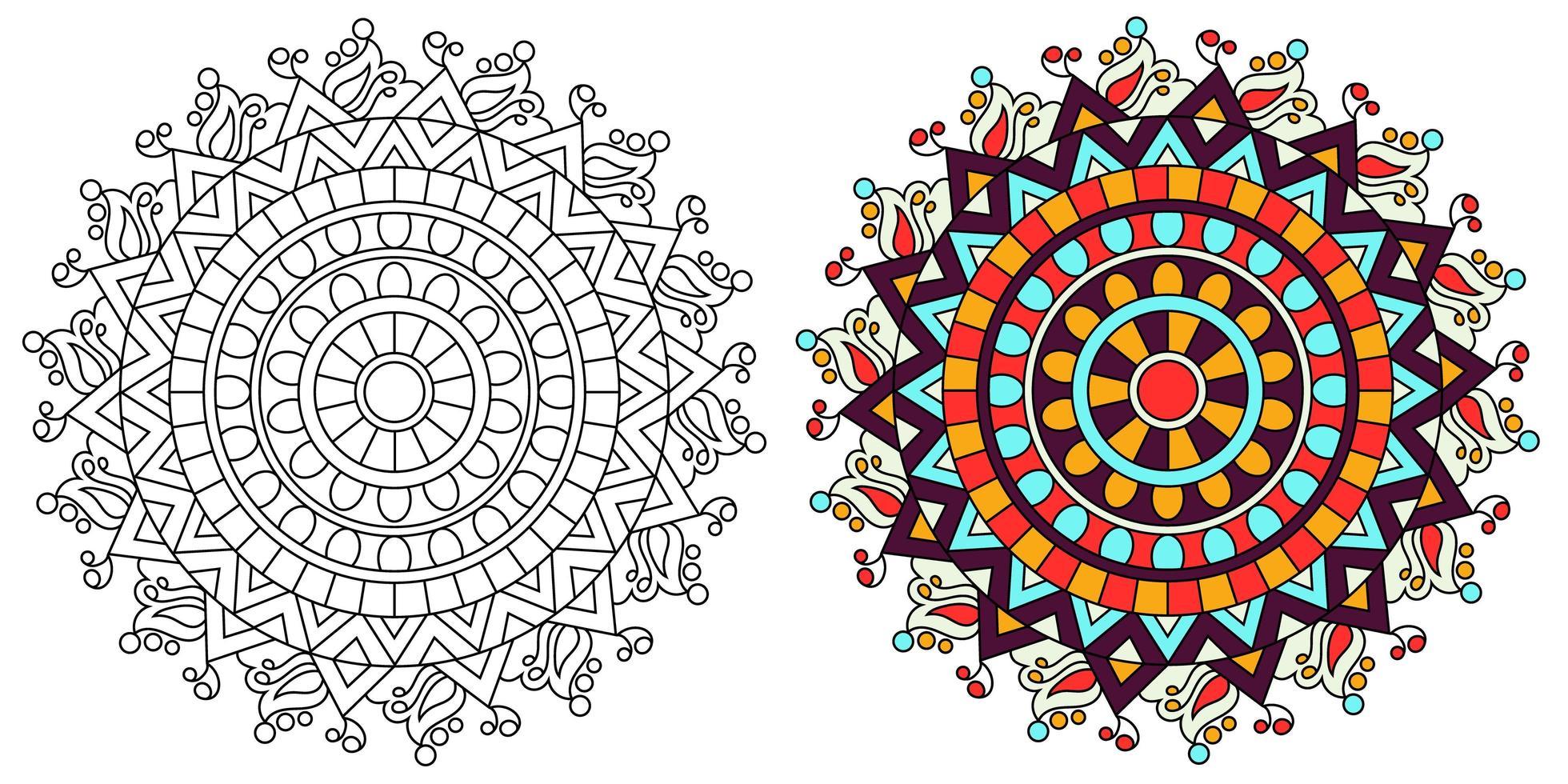 página de livro para colorir desenho de mandala colorida ornamental vetor