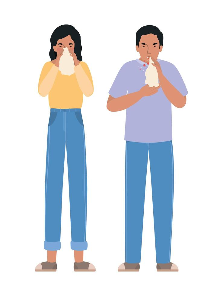 avatar mulher e homem com vírus covid 19 vetor