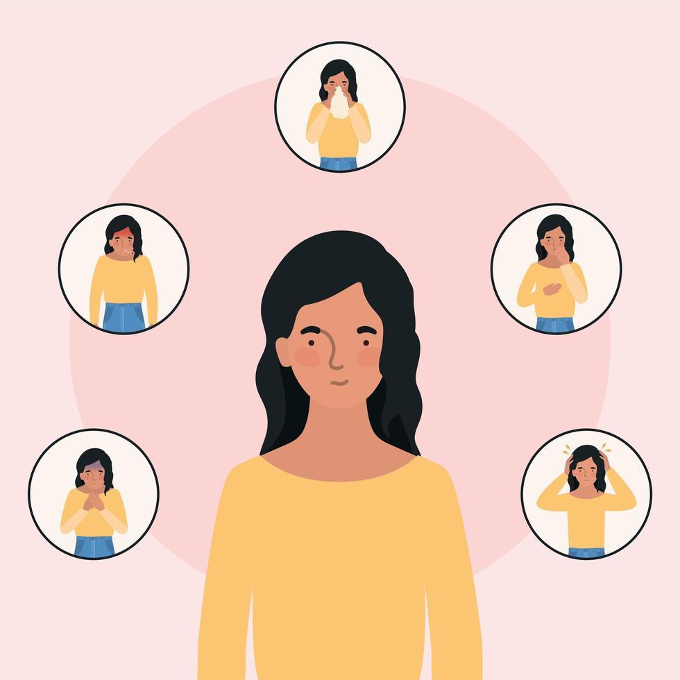 mulher avatar com design de sintomas de vírus ncov 2019 vetor