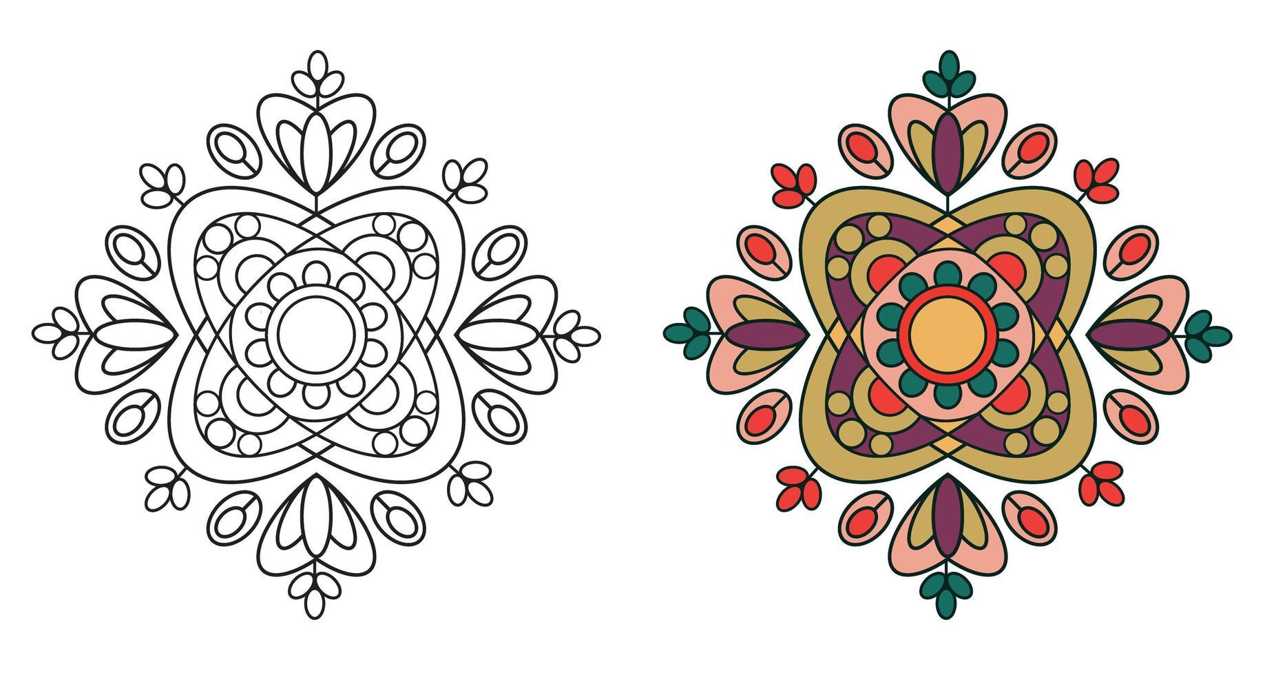 página de livro para colorir de mandala decorativa decorativa arredondada vetor