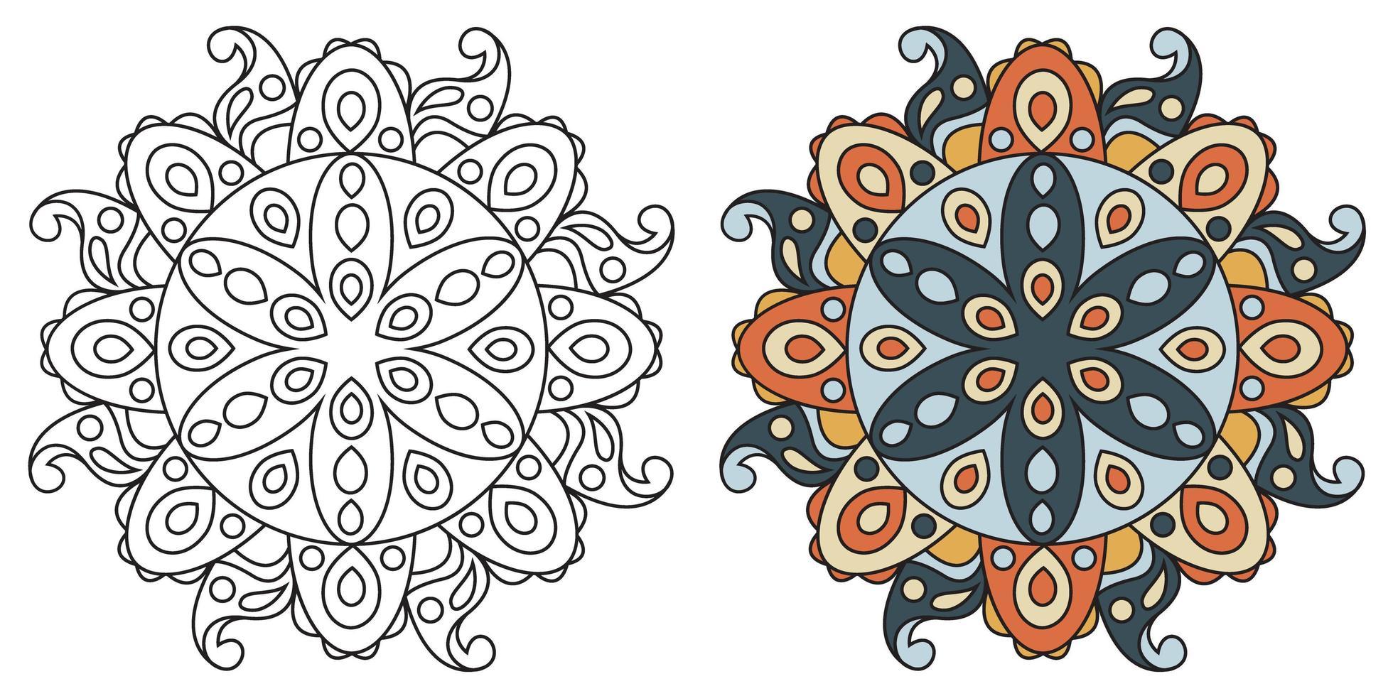 página do livro para colorir de mandala decorativa arredondada para colorir vetor