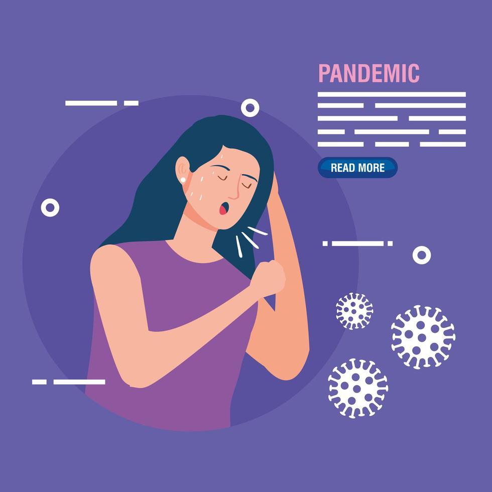 mulher doente por um banner de prevenção de pandemia vetor