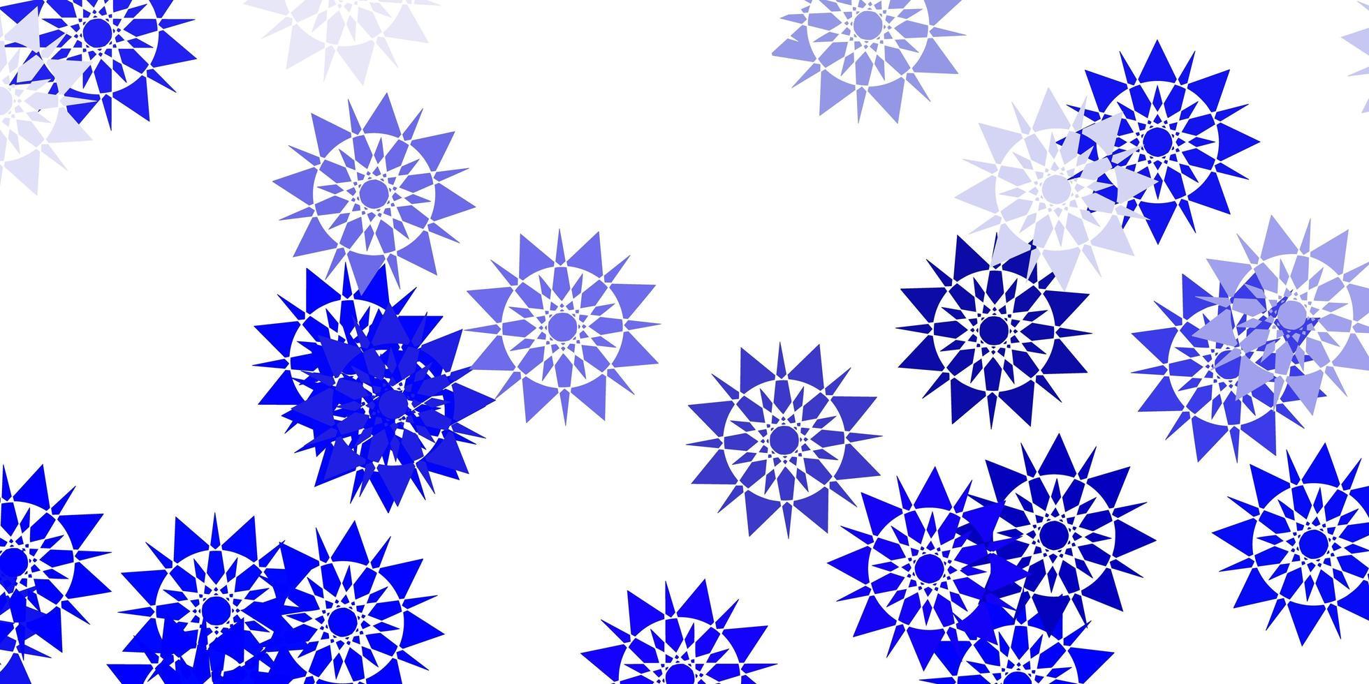 padrão de luz azul com flocos de neve coloridos. vetor