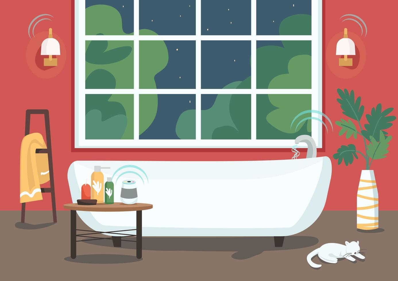 banheira inteligente com fluxo de água remoto vetor