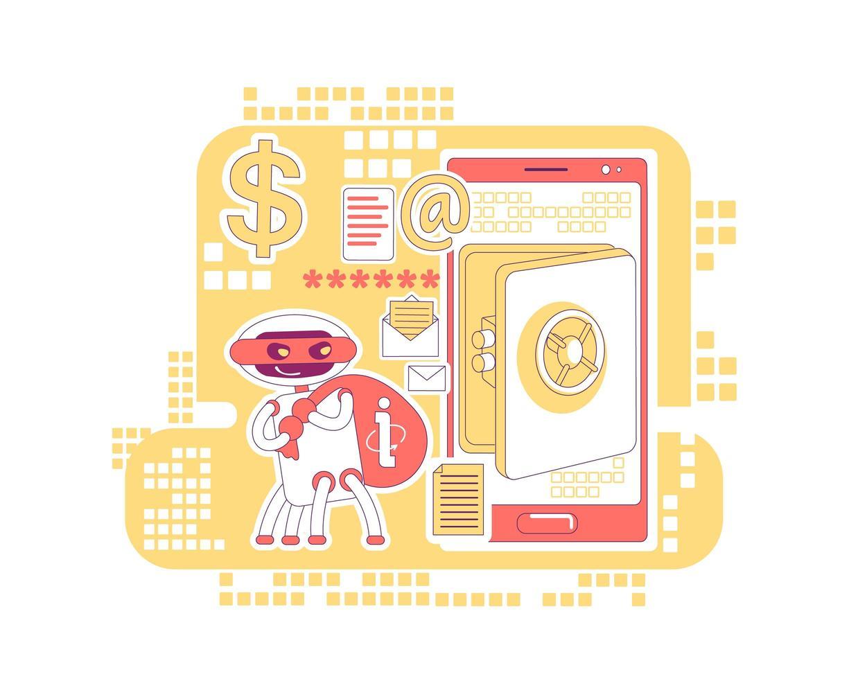 bot que rouba dados de contas bancárias e informações pessoais vetor