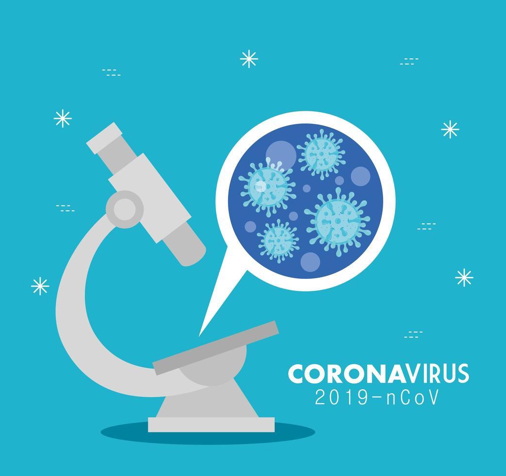 banner médico de coronavírus com microscópio vetor