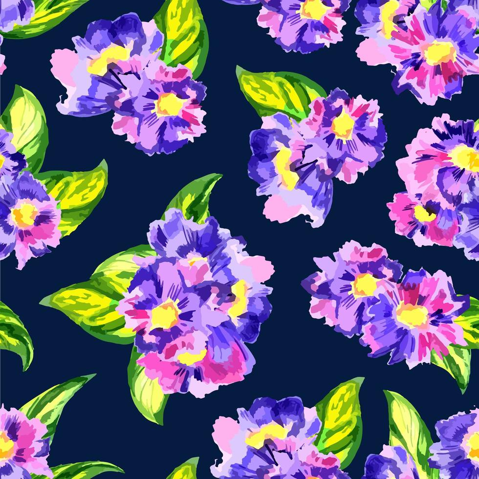 padrão sem emenda de flor em aquarela vetor