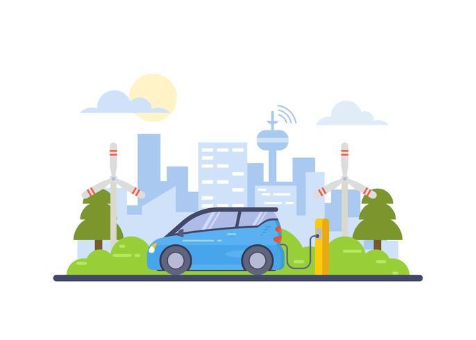 Cidade inteligente e ilustração de carro elétrico vetor