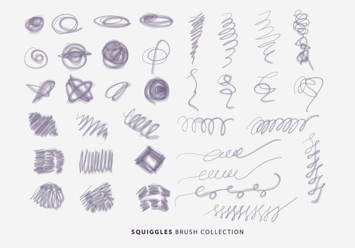 Escova de rabiscos naturais mão desenhada coleção Vector