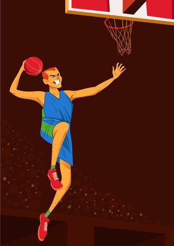 Jogador de basquete exagerado Slam Dunk vetor