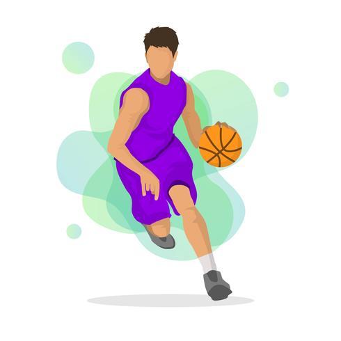 Ilustração em vetor plana jogador de basquete