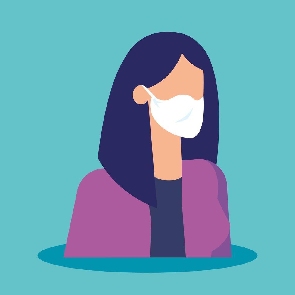 mulher de negócios com ícone isolado de máscara facial vetor