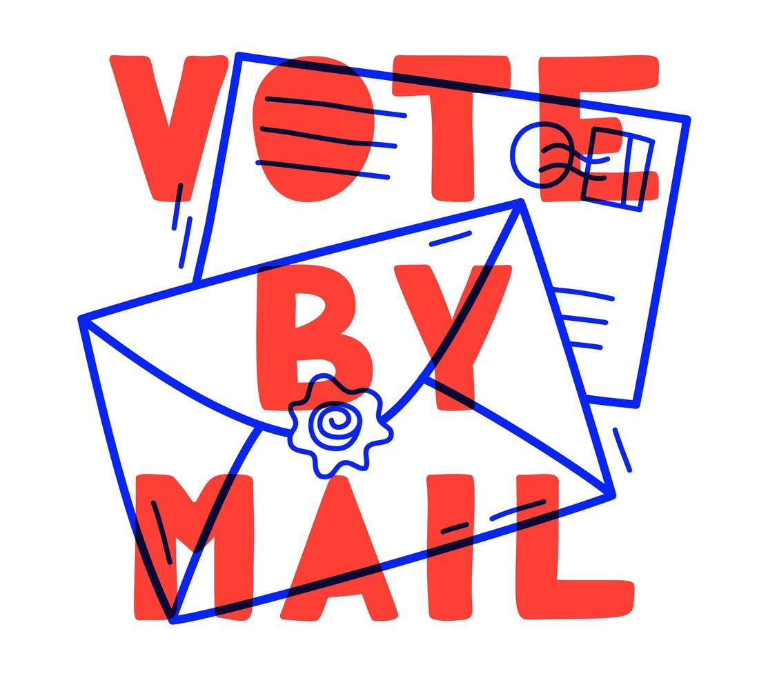 mão desenhada voto por ilustração vetorial de correio. Fique seguro conceito a eleição presidencial de 2020 nos Estados Unidos. modelo para plano de fundo, banner, cartão, pôster com inscrição de texto. vetor
