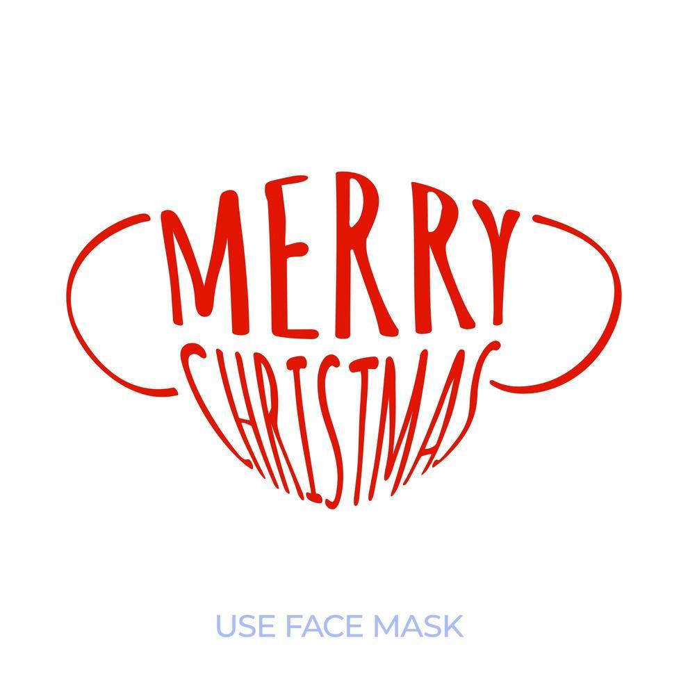 máscara facial médica com texto feliz Natal. tendência de saudações de Natal. surto de coronavírus. conceito de saúde. vetor