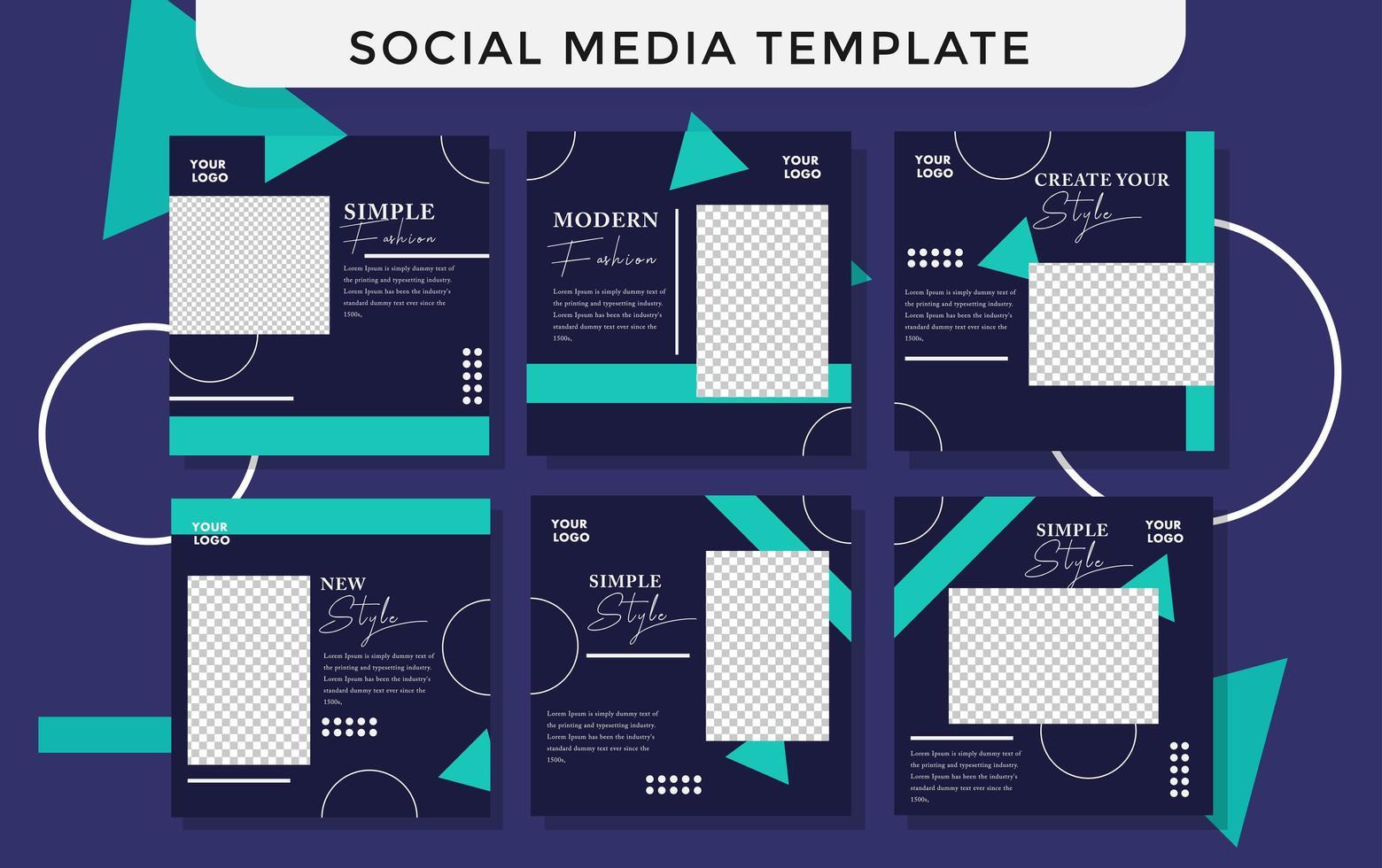 conjunto de estilo de banner de mídia social moderna da moda azul vetor