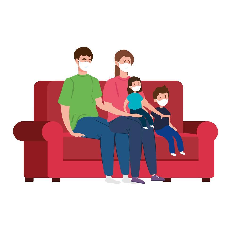 ficar em casa campanha com família na sala de estar vetor